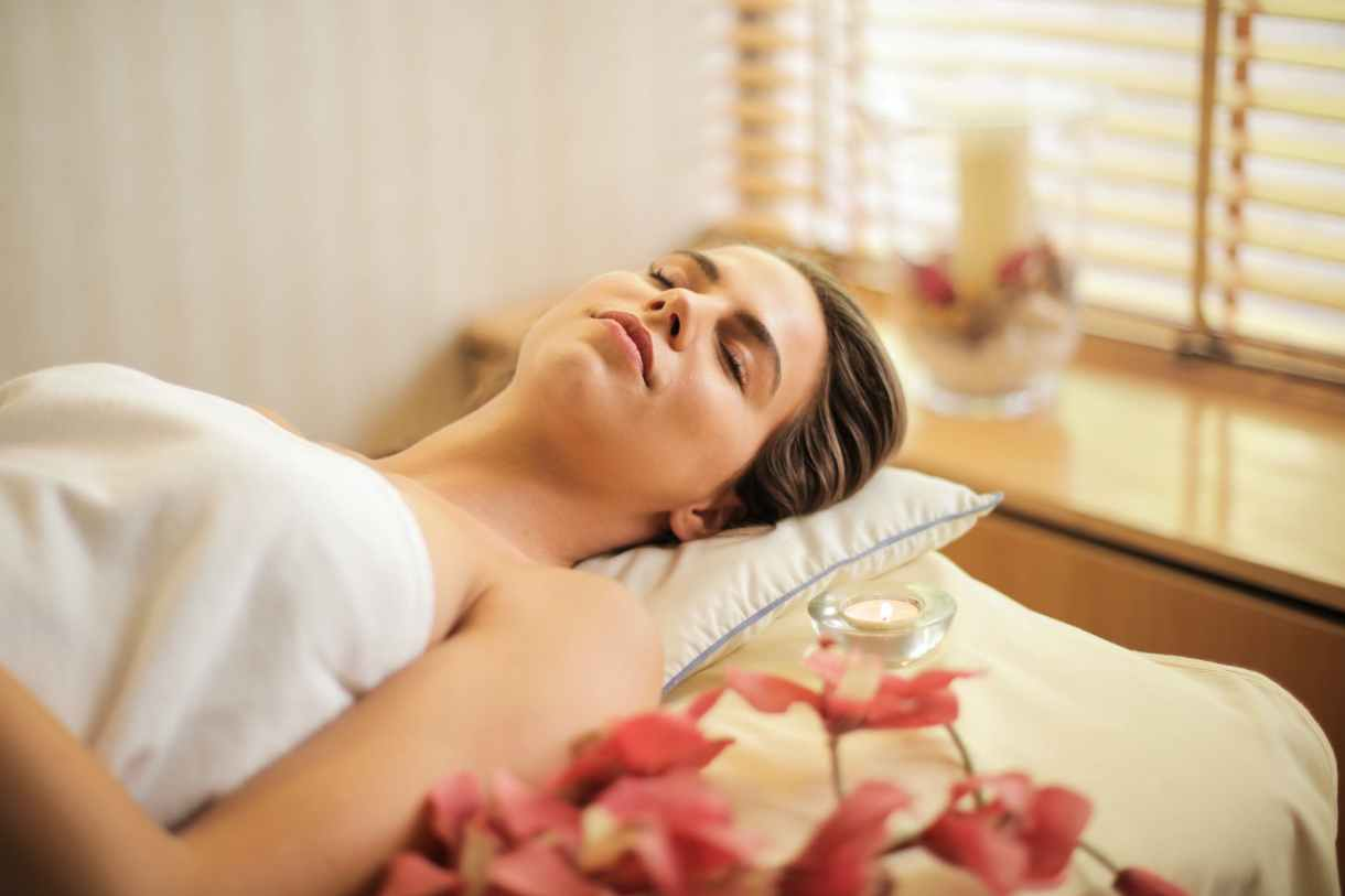 A woman at a spa